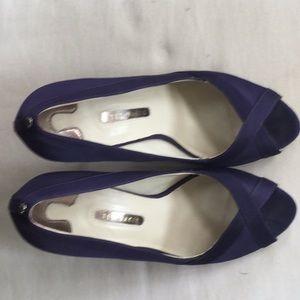 Purple satin Ted Baker peep toe stilettos size 9